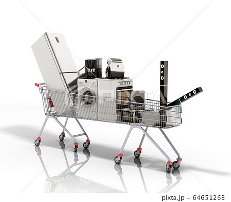 Home appliances in the shopping cart E-commerce or 64651263