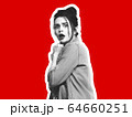 Collage in magazine style with emotional woman in black and white contour on bright background with copyspace 64660251