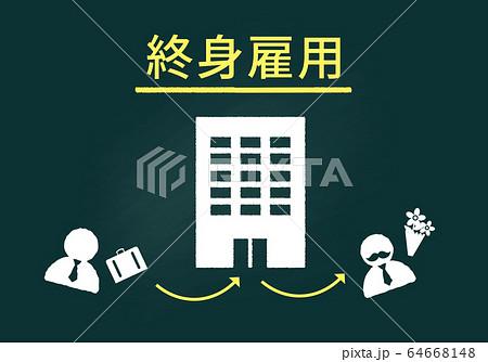 終身雇用制度の黒板イメージのイラスト素材 [64668148] - PIXTA