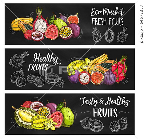 Exotic tropical fruits, food farm market banners 64672357