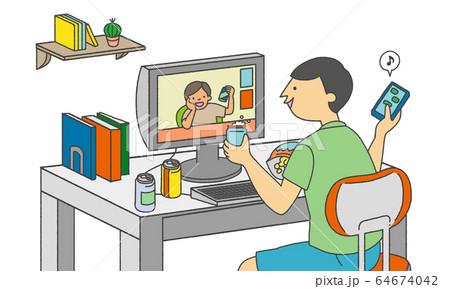 オンライン飲み会をする男性の素材イラスト 64674042