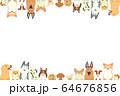 前足を乗っけているいろいろな種類の犬たちのフレーム(横) 64676856