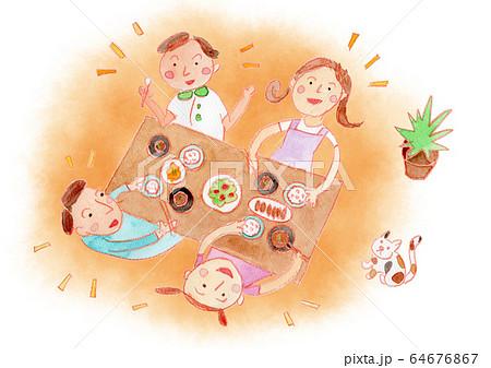 家族で食事 ぼかし背景付き 水彩 64676867