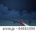 ペーパークラフト-雲-夜-車-ドライブ 64681090
