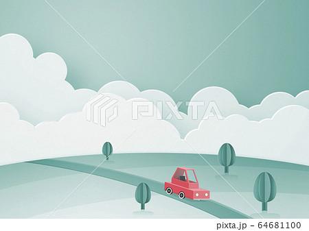 ペーパークラフト-空-雲-車-大地 64681100