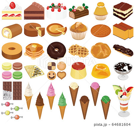 色々な洋菓子のイラスト(ケーキ、チョコレート、アイスクリーム、パフェ) 64681604