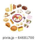 和菓子 セット 水彩 イラスト 64681700