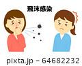 飛沫感染女性咳をする 64682232