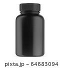 Black supplement bottle. Vitamin pill container 64683094