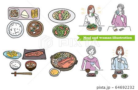 食事をする女性 和食 イラストセット 64692232