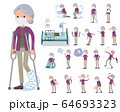 flat type mask Purple clothes old women_sickness 64693323