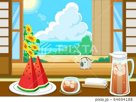 夏の風物詩 スイカ 麦茶 64694188