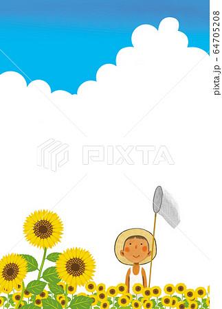 暑中見舞い 暑中ハガキ 背景素材 64705208