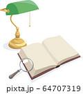 白紙の本とクラシックなランプと虫眼鏡 64707319