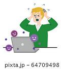 男性 外国人 ブロンド パソコン コンピュータウイルス 64709498