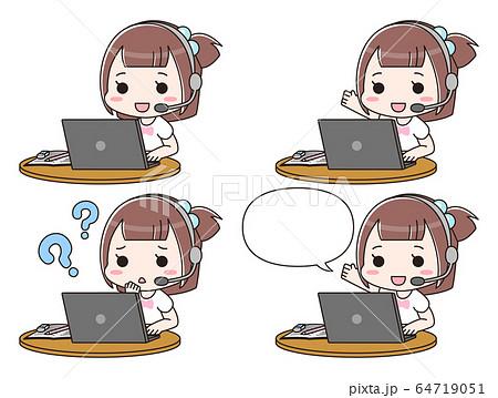 パソコンでオンライン授業を受ける女の子 64719051