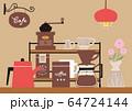 カフェの一角の手描きイラスト 64724144