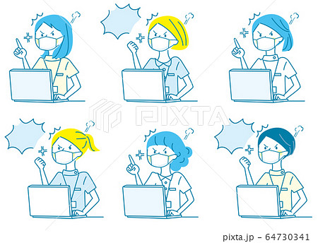 パソコン 怒る 若い女性 白衣 マスク 人物セット 64730341