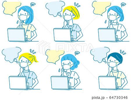 パソコン 悩む 若い女性 マスク 白衣 人物セット 64730346