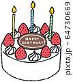 """バースデーケーキ """"HAPPY BIRTHDAY""""(カラ−ver) 64730669"""