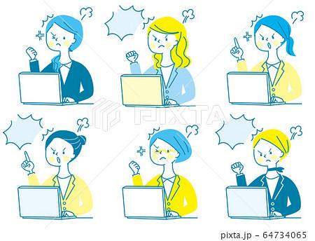 パソコン 怒る 若い女性 スーツ 表情セット 64734065