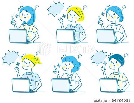 パソコン 怒る 若い女性 白衣 人物セット 64734082