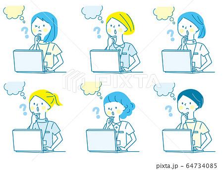 パソコン はてな 若い女性 白衣 人物セット 64734085