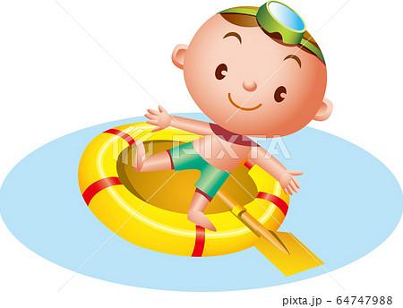 ゴムボードで遊ぶ水着の男の子 64747988