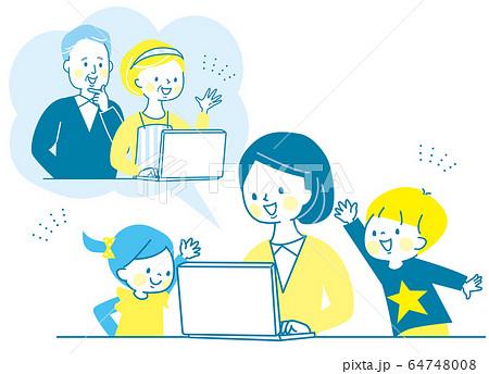 オンライン帰省 パソコン 親子 子供 ママ シニア 両親 64748008