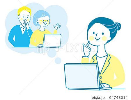 オンライン帰省 パソコン 親子 若い女性 シニア 両親 64748014