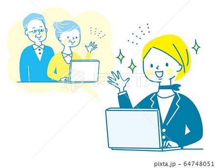 オンライン帰省 パソコン 親子 若い女性 シニア 両親 64748051