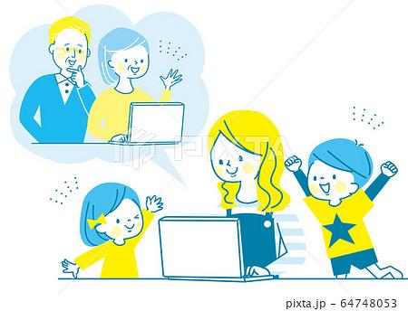 オンライン帰省 パソコン シニア 親子 子供 ママ 64748053