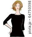黒いワンピースを着た女性の上半身 64750398