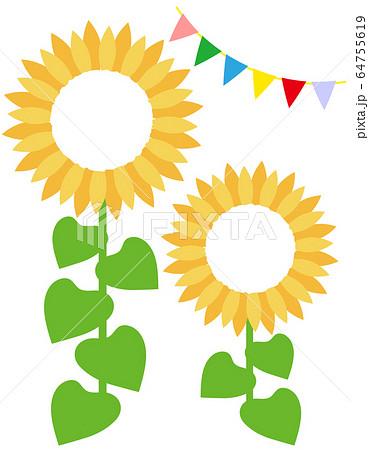 ひまわりのフレーム イラスト sunflower 64755619