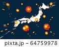 新型コロナウィルス拡大イメージ(日本) 64759978