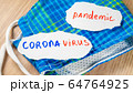 Pandemic and coronavirus text inscription on paper on face mask 64764925