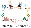 海の生き物と海に潜る子供たちのフレーム 64782846