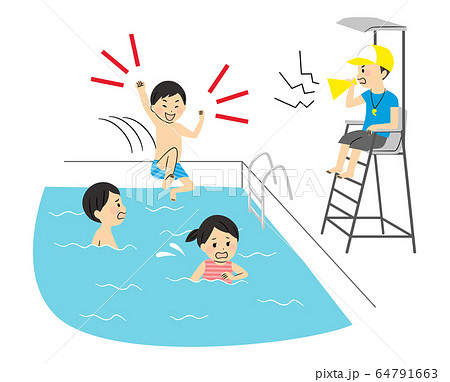 illustration of family members with swimsuits 64791663