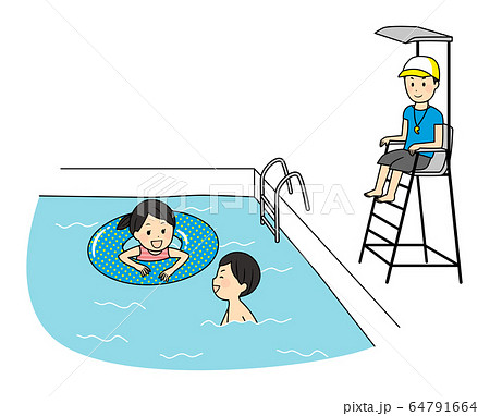 illustration of family members with swimsuits 64791664
