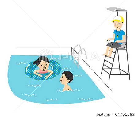 illustration of family members with swimsuits 64791665