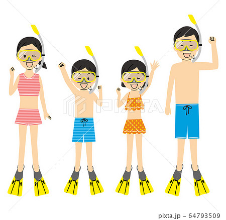 illustration of family members with swimsuits 64793509