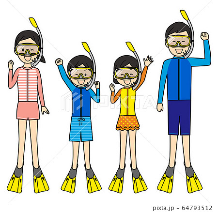 illustration of family members with swimsuits 64793512