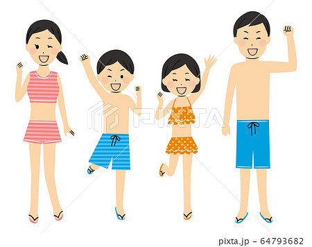 illustration of family members with swimsuits 64793682