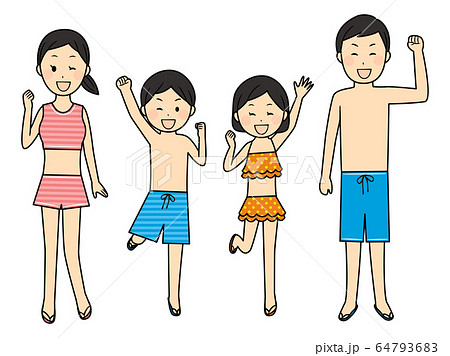 illustration of family members with swimsuits 64793683