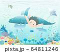 綺麗な海に潜る少年のイラスト 64811246