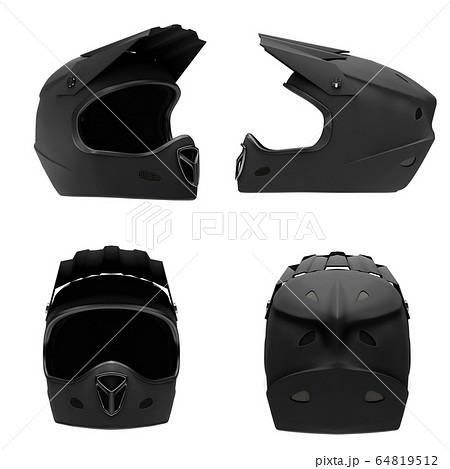 Set of Motor Sport FullFace Helmet Isolated 64819512