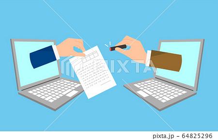 DX、はんこから電子署名へのイラストイメージ 64825296