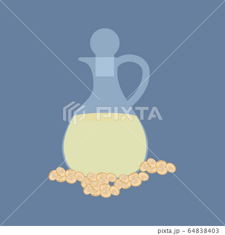 Soybean organic oil in glass bottle vector illustration 64838403