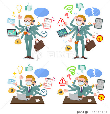 flat type mask blond hair businessman_mulch task 64846423