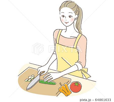 料理する女性 64861633